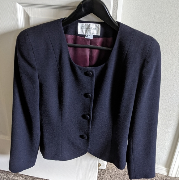 Christian Dior purple wool suit jacket, size 6